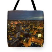 Vancouver Bc Cityscape During Evening Twilight Tote Bag
