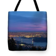 Vancouver Bc Cityscape Lions Gate Bridge Sunset Tote Bag