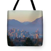 Vancouver Bc Downtown Cityscape At Sunset Panorama Tote Bag