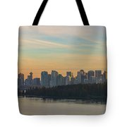 Vancouver Bc Skyline Along Stanley Park At Sunset Tote Bag