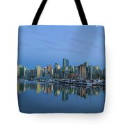 Vancouver Bc Skyline During Blue Hour Panorama Tote Bag