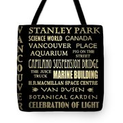 Vancouver Canada Famous Landmarks Tote Bag