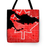 Vancouver Street Map - Vancouver Canada Road Map Art On Canada Flag Symbols Tote Bag