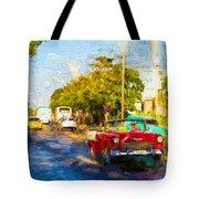 Vintage Cars In Varadero Tote Bag