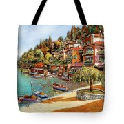 Varenna On Lake Como Tote Bag by Guido Borelli