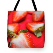 Various Sliced Strawberries Close Up Tote Bag