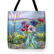 Vase Of Anemones With View Of Nafplio Tote Bag