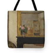 Vase Of Flowers On A Mantelpiece Tote Bag