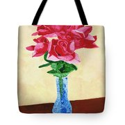 Vase Of Red Roses Tote Bag