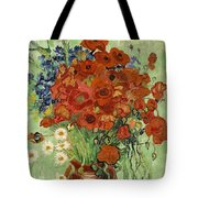 Vase With Daisies And Poppies Tote Bag