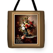 Vase With Roses And Other Flowers L A With Alt. Decorative Ornate Printed Frame. Tote Bag