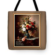 Vase With Roses And Other Flowers L A With Decorative Ornate Printed Frame. Tote Bag
