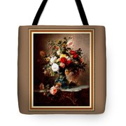 Vase With Roses And Other Flowers L B With Decorative Ornate Printed Frame. Tote Bag