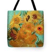 Vase With Twelve Sunflowers Tote Bag