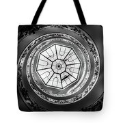 Vatican Staircase Looking Up Black And White Tote Bag