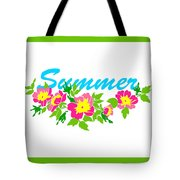 Vector Round Frame Isolated With Summer Flowers In Vintage Style Tote Bag