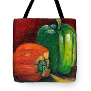Vegetable Still Life Green And Orange Pepper Grace Venditti Montreal Art Tote Bag