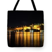 Velvety Reflections - Valletta Grand Harbour At Night Tote Bag