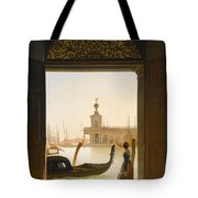Venice A View Of The Dogana Seen Through A Large Doorway Tote Bag