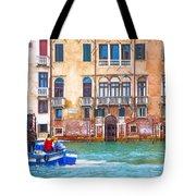 Venice Boat Under The Rain Tote Bag