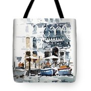 Venice Canal With Barges Tote Bag