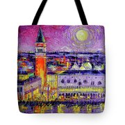 Venice Night View Modern Textural Impressionist Stylized Cityscape Tote Bag