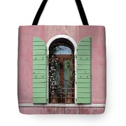 Venice Window In Pink And Green Tote Bag