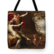 Venus And Adonis With Hounds Tote Bag