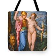 Venus And Minerva In A Landscape Tote Bag