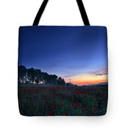 Venus And Moon Over Spring Poppies Tote Bag