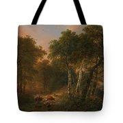 Verboeckhoven  Eugene   Forest Landscape With Animals Tote Bag