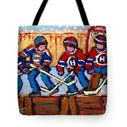 Verdun Hockey Rink Paintings Edmonton Oilers Vs Hometown Habs Quebec Hockey Art Carole Spandau       Tote Bag