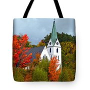 Vermont Church In Autumn Tote Bag by Catherine Sherman