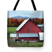 Vermont Cows At The Barn Tote Bag