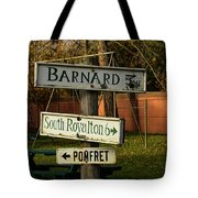 Vermont Crossroads Signs Tote Bag