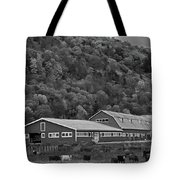 Vermont Farm With Cows Autumn Fall Black And White Tote Bag