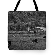 Vermont Farm With Cows Black And White Tote Bag