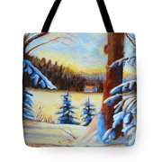 Vermont Log Cabin Maple Syrup Time Tote Bag