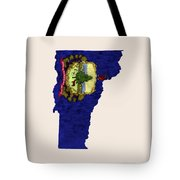 Vermont Map Art With Flag Design Tote Bag