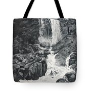 Vernal Falls Black And White Tote Bag