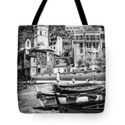 Vernazza Boats And Church Cinque Terre Italy Bw Tote Bag