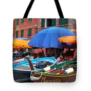 Vernazza Boats Tote Bag