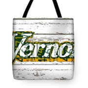 Vernors Beverage Company Recycled Michigan License Plate Art On Old White Barn Wood Tote Bag