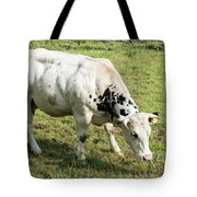 Very Muscled Cow In Green Field Tote Bag
