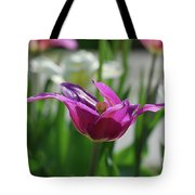 Very Pretty Blooming Purple Tulip With Spikey Petals Tote Bag