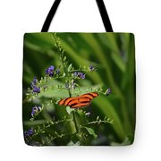Vibrant Oak Tiger Butterfly Surrounded By Blue Flowers Tote Bag