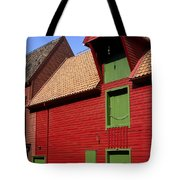 Vibrant Red And Green Building Tote Bag