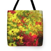 Vibrant Yellow Daisies And Red Garden Flowers Tote Bag