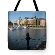 Victoria Harbour With Railing Tote Bag by Carol Groenen