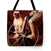 Victorian Boy With Pug Dog And Tricycle Circa 1900 Tote Bag